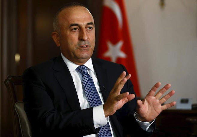 Turkey's Foreign Minister Mevlut Cavusoglu answers a question during an interview with Reuters in Ankara