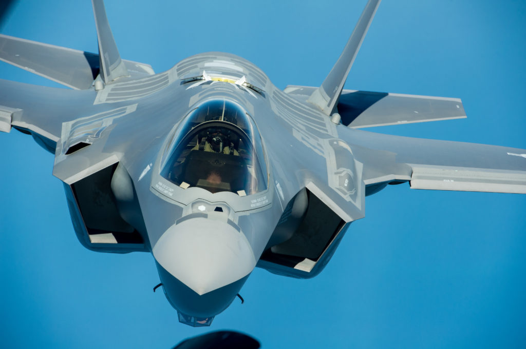 F-35 Lightning II instructor pilots conduct aerial refueling