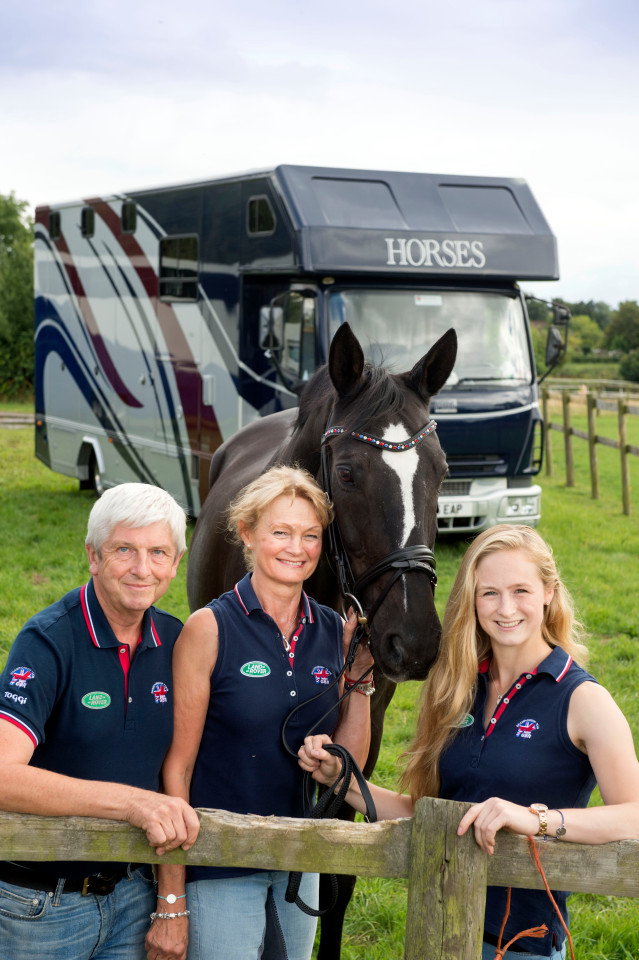 Pics - Adrian Sherratt - 07976 237651 Lucy Phillips the equestrian vaulter who had her horse box stopped by migrants near Calais after competing in the World Championships near Le Mans last Sunday. Pictured with her parents Bill & Elizabeth near their home in Solihull, Birmingham (and horse Pitucelli) (28 Aug 2016).
