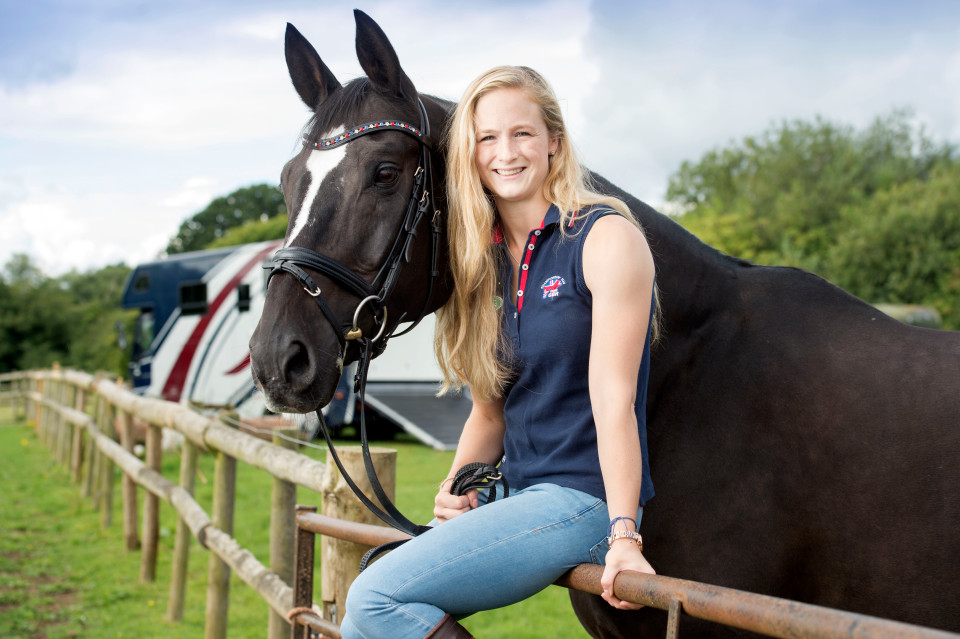 Pics - Adrian Sherratt - 07976 237651 Lucy Phillips the equestrian vaulter who had her horse box stopped by migrants near Calais after competing in the World Championships near Le Mans last Sunday. Pictured with her horse Pitucelli near her home in Solihull, Birmingham (28 Aug 2016).