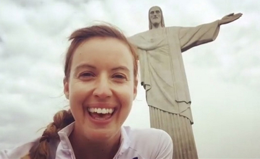 TIM STEWART NEWS LIMITED: TV presenter Charlie Webster who has been left fighting for her life after contracting a rare strain of malaria during a gruelling, six week 3,000 mile cycle ride on her way from Britain to the Rio Olympics, pictured at Christ the Redeemer. ***Pix supplied as a technical service by Tim Stewart News Limited. No copyright inferred or implied***