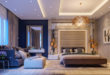 Glamorous-LOVE-bedroom-brown-white-and-beige-amber-tones-midnight-blue-side-wall